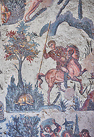 Close up detail picture of the Roman mosaics of the small hunt depicting a hare about to be speared,  room no 24 at the Villa Romana del Casale, first quarter of the 4th century AD. Sicily, Italy. A UNESCO World Heritage Site.<br /> <br /> The Small Hunt room was used as a living room for guests of the Villa Romana del Casale. The Small hunt mosaic design has 4 registers running across the mosaic depicting hunting scenes. In the first register two servants are handling hunting dogs. In the second register figures are depicted burning incense at an altar to Diana, the goddess of hunting, before the hunt starts. The offering is being made by Constantius Clorus , the Caesar of Emperor Maximianus who owned the Villa Romana del Casale. Behind him is his son the future Emperor Constantine. To the right of the altar is a figure holding the reins of a horse dressed in a clavi decorated with ivy leaves indicating that he belongs to the family of Maximianus.