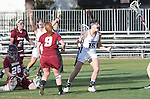 Los Angeles, CA 02/08/13 - Amanda McLaughlin  (Northwestern #26), Courtney McGrath  (Umass #9) and Ali Cassera  (Northwestern #16) in action during the Northwestern vs UMass NCAA Women's Lacrosse game at USC's McAlister Field.