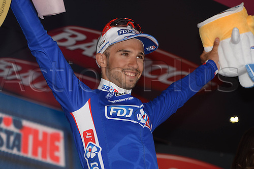 20.05.2014. Modena to Salsomaggiore, Italy. Giro D Italia Stage 10.  FDJ.fr 2014, Bouhanni Nacer, on the podium in Salsomaggiore