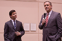 Political correspondent George Stephanopoulos and Charles Gibson, anchor of ABC's Nightly News, in Dallas, Texas Monday, March 3, 2008. ABC was broadcasting from Dallas, Texas during the Democratic primary elections on March 4.. ..