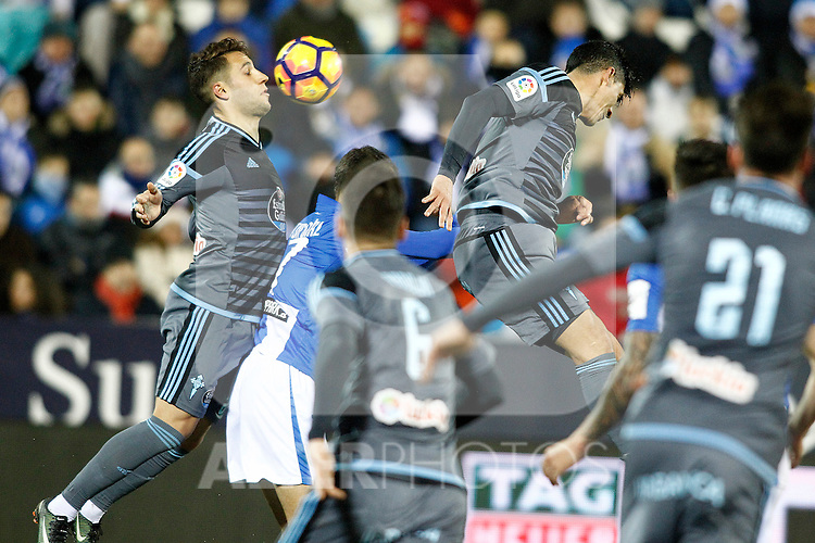 Celta de Vigo's Hugo Mallo (l) and Pedro Pablo Hernandez during La Liga match. January 28,2017. (ALTERPHOTOS/Acero)