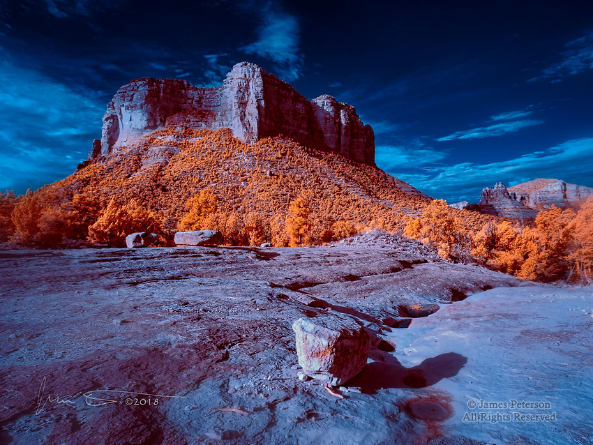 Courthouse Butte from Llama Trail (Infrared) ©2018 James D Peterson.