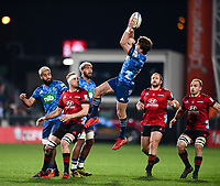 11th July 2020, Christchurch, New Zealand;  Beauden Barrett of the Blues takes a high ball during the Super Rugby Aotearoa, Crusaders versus Blues, at Orangetheory Stadium, Christchurch