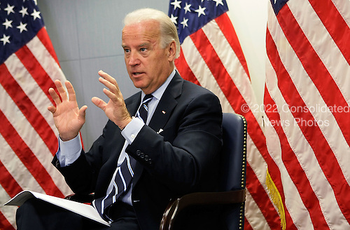Washington, DC - January 14, 2009 -- United States Vice President-elect Senator Joseph Biden (Democrat of Delaware) speaks during a meeting regarding a recent trip to Southwest Asia at the transition office Wednesday, January 14, 2009 in Washington, DC. Biden and United States Senator Lindsey Graham (Republican of South Carolina), who have recently returned from a trip to Afghanistan, Iraq, Kuwait and Pakistan, briefed United States President-elect Barack Obama on their diplomatic findings. .Credit: Alex Wong - Pool via CNP