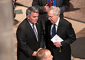 United Staters Senate Majority Leader Mitch McConnell (Republican of Kentucky), right< and US Senator Cory Gardner (Republican of Colorado), left, in conversation prior to the beginning of the funeral service for the late US Senator John S. McCain, III (Republican of Arizona) at the Washington National Cathedral in Washington, DC on Saturday, September 1, 2018.<br /> Credit: Ron Sachs / CNP<br /> <br /> (RESTRICTION: NO New York or New Jersey Newspapers or newspapers within a 75 mile radius of New York City)