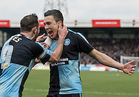 Goalscorer Luke O'Nien of Wycombe Wanderers celebrates with Paul Hayes of Wycombe Wanderers during the Sky Bet League 2 match between Wycombe Wanderers and Bristol Rovers at Adams Park, High Wycombe, England on 27 February 2016. Photo by Kevin Prescod.