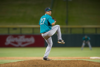 AZL Mariners relief pitcher Orlando Razo (27) delivers a pitch to the plate against the AZL Cubs on August 4, 2017 at Sloan Park in Mesa, Arizona. AZL Cubs defeated the AZL Mariners 5-3. (Zachary Lucy/Four Seam Images)