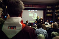 """Mario Fiorentini (Antifascist Partizan. Member of the Partigiani: the Italian Resistance during WWII).<br /> <br /> Rome, 07/11/2018. Today, ANPI Roma (National Association of Italian Partizans, Members of the Italian Resistance) celebrated the 100th birthday of Partizan GAP Commander Prof. Mario Fiorentini holding a fully booked public event at the Casa della Memoria e della Storia di Roma (House of Memory and History of Rome). Mario Fiorentini (AKA, Giovanni, as the Apostle; Gandhi, due to be very skinny; Fringuello, due to a launch with a parachute; Dino, as he is called in Piedmont, https://bit.ly/2PL1IHn) was the Commander of the GAP """"Antonio Gramsci"""" in Rome. The GAPs - Gruppi di Azione Patriottica (Patriotic Action Groups, https://bit.ly/2K3jCmJ) were famous because their members, called """"Gappisti"""", carried out acts of sabotage & guerrilla warfare against nazi-fascist troups in cities such as Rome, Milan, Genova, Bologna and others. In Rome, Mario Fiorentini, along with his wife Lucia Ottobrini """"Maria"""" and other partizans, took part in numerous acts of guerrilla including the """"Attack of Via Rasella"""" on 23 March 1944 (Aredeatine Massacre on Wikipedia, https://bit.ly/2ASTk0a). The Man of """"Three Lives in One"""", as Mario Fiorentini is usually described: """"Humanist, GAP Partizan, Mathematician"""", was a roman communist intellectual member of a Jewish family who joined the Partizans Resistance (https://bit.ly/20uiWFf) after the 8 September 1943 Armistice. Subsequently the end of WWII, Mario, helped by his wife, studied maths becaming Professor of Superior Geometry at the University of Ferrara and a globally-known Mathematichian.<br /> <br /> More info about event & organisers:  https://bit.ly/2D96uYA & https://bit.ly/2SUD3yZ<br /> ANSA Doc (in ITA) """"Mario e Lucia, di guerra e d'amore"""" https://bit.ly/1Dg7Ntj"""