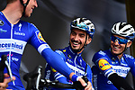 Julian Alaphilippe (FRA) Deceuninck-Quick Step on stage at the team presentation before Stage 1 of the Criterium du Dauphine 2019, running 142km from Aurillac to Jussac, France. 9th June 2019<br /> Picture: ASO/Alex Broadway | Cyclefile<br /> All photos usage must carry mandatory copyright credit (© Cyclefile | ASO/Alex Broadway)