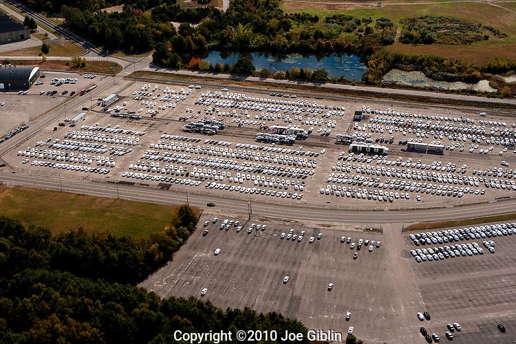The NORAD auto import  lots at Davisville in North Kingstown, RI  Aerial images of RI/Narragansett Bay (photo/Joe Giblin)