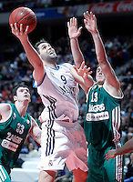 Real Madrid's Felipe Reyes (l) and Zalgiris Kaunas' Paulius Jankunas during Euroleague 2012/2013 match.January 11,2013. (ALTERPHOTOS/Acero) NortePHOTO