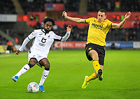 23rd November 2019; Liberty Stadium, Swansea, Glamorgan, Wales; English Football League Championship, Swansea City versus Millwall; Nathan Dyer of Swansea City tries to go past Murray Wallace of Millwall - Strictly Editorial Use Only. No use with unauthorized audio, video, data, fixture lists, club/league logos or 'live' services. Online in-match use limited to 120 images, no video emulation. No use in betting, games or single club/league/player publications