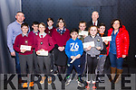 The winners of the Cahersiveen Credit Union Schools Table Quiz held in Foilmore Community Centre on Sunday were left Scoil Dar Earca Valentia & right Scoil Chrochan Naofa, Caherdaniel, pictured here l-r; John Daly(Principal), Philip Daly, Michéal Lynch, Emmet Daly, Odhran McDonagh, Elma Shine(Manager CCU), Cillian O'Sullivan, Hannah Carroll, Ciara Foley, Denis Cournane(Secretary CCU), Adam Corridan & Maria Maunse(Principal).
