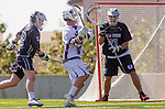 Los Angeles, CA 03/12/16 - Nate Fredricks (Loyola Marymount #2), Alec King (Utah State #27) and Nick Casillas (Utah State #33) in action during the Utah State vs Loyola Marymount MCLA Men's Division I game at Leavey Field at LMU.  Utah State defeated LMU 17-4.