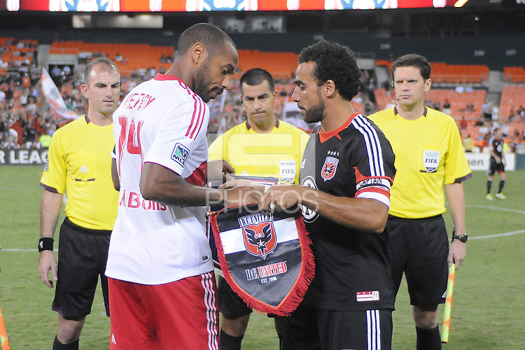D.C. United forward Dwayne De Rosario (7) with New York Red Bulls Thierry Henry at the coin toss. The New York Red Bulls tied D.C. United 2-2 at RFK Stadium, Wednesday August 29, 2012.