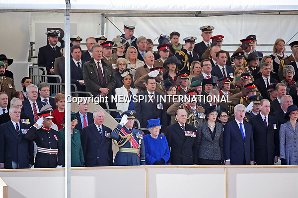 09.03.2017; London, England: QUEEN ELIZABETH AND MEMBERS OF THE ROYAL FAMILY<br />attended a Service of Dedication and unveiled the new memorial in Victoria Embankment Gardens, which honours the service and duty of both the UK Armed Forces and civilians in the Gulf region, Iraq and Afghanistan, and those who supported them back home, from 1990-2015.<br />Royals present included Duke of Edinburgh, Prince Charles, Camilla, Duchess of Cornwall, Prince William, Catherine, Duchess of Cambridge, Prince Harry, Prince Andrew, Prince Edward, Sophie, Countess of Wessex, Princess Anne and the Duke of Gloucester.<br />Politicians present included Prime Minister Theresa May and Tony Blair.<br />Mandatory Credit Photo: &copy;MoD/NEWSPIX INTERNATIONAL<br /><br />IMMEDIATE CONFIRMATION OF USAGE REQUIRED:<br />Newspix International, 31 Chinnery Hill, Bishop's Stortford, ENGLAND CM23 3PS<br />Tel:+441279 324672  ; Fax: +441279656877<br />Mobile:  07775681153<br />e-mail: info@newspixinternational.co.uk<br />*All fees payable to Newspix International*
