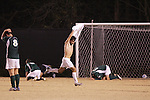 8 December 2007: As the ball sits in the back of the net, Wake Forest's Austin da Luz (center) removes his shirt in celebration as Notre Dame players react to the loss. Wake Forest University defeated Notre Dame University 1-0 in overtime at Spry Stadium in Winston-Salem, NC in an NCAA Men's Soccer tournament quarterfinal.