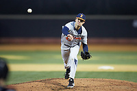 Illinois Fighting Illini relief pitcher Sean Leland (43) delivers a pitch to the plate against the Wake Forest Demon Deacons at David F. Couch Ballpark on February 16, 2019 in  Winston-Salem, North Carolina.  The Fighting Illini defeated the Demon Deacons 5-2. (Brian Westerholt/Four Seam Images)