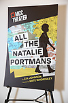 """Signage during the rehearsal photo call for the MCC Theater's production of """"All The Natalie Portmans"""" on January 15, 2019 in New York City."""