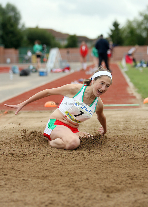 Photo: Rich Eaton...Schools International Athletic Board, Track & Field International Match, Newport. 21/07/2007.Sarah Dacey of Wales competes in the girls long jump.