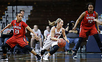 SIOUX FALLS, SD: MARCH 19:  Haris Price #21 of Carson Newman drives between Union defender Chelsey Shumpert #25 and Bria Gaines #12 during their game at the 2018 Division II Women's Elite 8 Basketball Championship at the Sanford Pentagon in Sioux Falls, S.D. (Photo by Dick Carlson/Inertia)