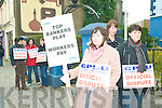 CPSU stand: Civil servants protesting outside the Listowel gardai station on Thursday morning against the pension levies were Amanda O'Neill, (Revenue Commissioners), Moira Kissane, (Garda station administration) and Mary Horgan (Courts Service).