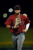 AZL Dbacks right fielder Ismael Jaime (7) jogs off the field between innings of an Arizona League game against the AZL Cubs 2 on June 25, 2019 at Sloan Park in Mesa, Arizona. AZL Cubs 2 defeated the AZL Dbacks 4-0. (Zachary Lucy/Four Seam Images)