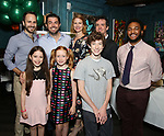 """Front row: Brie Zimmer, Charlotte Wise, Finn Faulconer Second row: Matt Harrington, Jason O'Connell, Kate MacCluggage, Craig Wesley Devino and Kareem Lucas attend the Birthday Party Photo Call for the Wheelhouse Theater Company production of Kurt Vonnegut's """"Happy Birthday, Wanda June""""  on October 3, 2018 at Bond 45 Times Square in New York City."""
