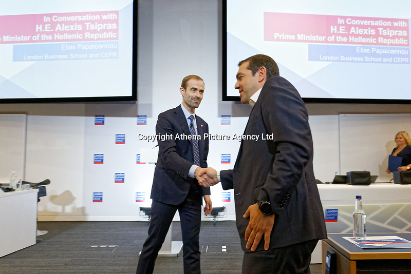 Pictured: Alexis Tsipras. Wednesday 27 June 2018<br /> Re: Greek Prime Minister Alexis Tsipras gives a speech at the Sammy Ofer building of the London Business School in London, UK
