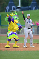 Beloit Snappers first baseman Matt Olson #21 performs with mascot BirdZirk! during a game against the Kane County Cougars on May 26, 2013 at Fifth Third Bank Ballpark in Geneva, Illinois.  Beloit defeated Kane County 6-5.  (Mike Janes/Four Seam Images)