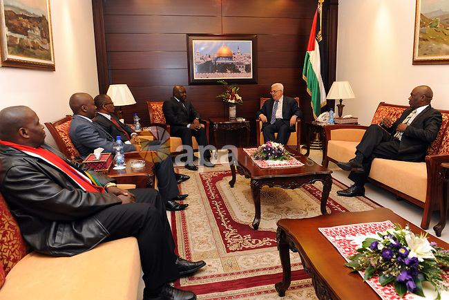 Palestinian President Mahmoud Abbas (Abu Mazen) receive the cheif of the Football Association of southernmost Africa in Ramallah on Nov. 15, 2011. Photo by Mufeed Abu Hasnah