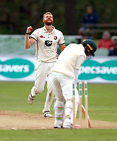 Ivan Thomas of Kent celebrates after bowling Asad Shafiq during day 1 of the four day tour match between Kent CCC and Pakistan at the St Lawrence Ground, Canterbury, on Sat April 28, 2018