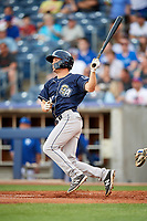 San Antonio Missions center fielder Auston Bousfield (20) follows through on a swing during a game against the Tulsa Drillers on June 1, 2017 at ONEOK Field in Tulsa, Oklahoma.  Tulsa defeated San Antonio 5-4 in eleven innings.  (Mike Janes/Four Seam Images)