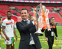 Blackpool's manager Gary Bowyer  after winning the Sky Bet League 2 PLAY OFF FINAL match between Exeter City and Blackpool at Wembley Stadium, London, England on 28 May 2017. Photo by Andrew Aleksiejczuk.