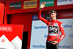 Race leader Chris Froome (GBR) Team Sky retains the Red Jersey on the podium at the end of Stage 12 of the 2017 La Vuelta, running 160.1km from Motril to Antequera Los D&oacute;lmenes, Spain. 31st August 2017.<br /> Picture: Unipublic/&copy;photogomezsport | Cyclefile<br /> <br /> <br /> All photos usage must carry mandatory copyright credit (&copy; Cyclefile | Unipublic/&copy;photogomezsport)