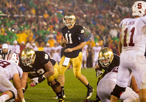 October 13, 2012:  Notre Dame quarterback Tommy Rees (11) calls audible at the line during NCAA Football game action between the Notre Dame Fighting Irish and the Stanford Cardinal at Notre Dame Stadium in South Bend, Indiana.  Notre Dame defeated Stanford 20-13.
