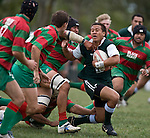 Tim Nanai Williams gets swallowed up by the Waiuku defence after making one of his trademark breaks. Pat Walsh memorial pre-season rugby game between Manurewa & Waiuku played at Mountfort Park, Manurewa on 5th April, 2008. Waiuku led 12 - 8 at halftime, though Manurewa went on to win 30 - 23.