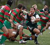 Tim Nanai Williams gets swallowed up by the Waiuku defence after making one of his trademark breaks. Pat Walsh memorial pre-season rugby game between Manurewa & Waiuku played at Mountfort Park, Manurewa on 5th April, 2008. Waiuku led 12 - 8 at halftime, though Manurewa went on to win 30 - 23.