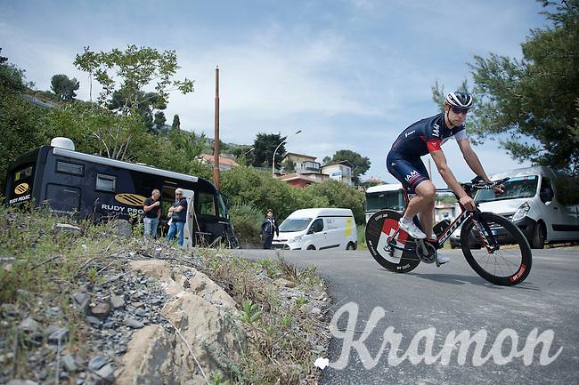 Roger Kluge (DEU/IAM) returning from the TTT recon<br /> <br /> 2015 Giro<br /> startzone of stage 1: San Lorenzo Al Mare - San remo (TTT/17.6km)