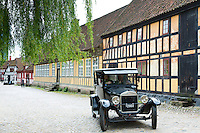 Vintage car Model T Ford at Den Gamle By, The Old Town, open-air folk museum at Aarhus in East Jutland, Denmark