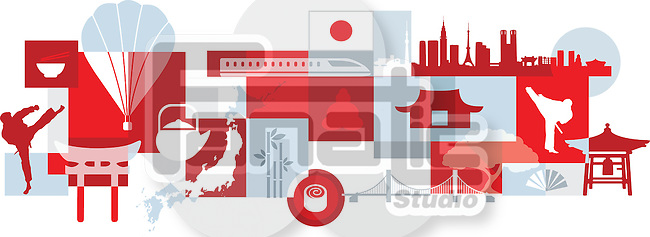 Illustrative collage of tourist attractions in Japan