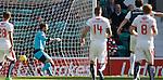 Raith keeper Kevin Cuthbert helpless as Jason Cummings scores Hib's second goal