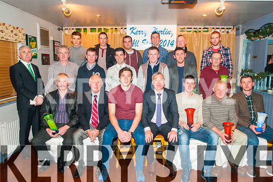 Kerry Hurling All Stars Awards: Pictured at the Kerry Hurling All Stars presentation at Parkers Bar, Kilflynn on Saturday last were in front  James Heffernan representing Ricky Heffernan, Declan ..... David Moran, Ogie Moran, Shane Nolan, Ger O'Connell representing Darragh O'Connell & John Egan. Centre : Michael O'Halloran, Mike Parker, Paudie O'Connor, Kieran Dineen, Daniel Collins, John Griffin & ..... Back : Darragh Shanahan, Trevor McKenna, Kevin Orpen, Tom Murnane, Darren Delaney & Aidan McCabe representing Adrian Royle.