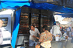 Mobile van vehicle selling oven roasted chicken Pego, Marina Alta, Alicante province, Spain