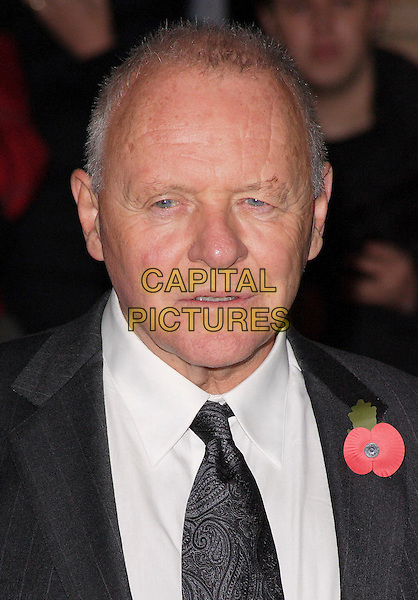 "ANTHONY HOPKINS.European Premiere of ""Beowulf"" at the Vue West End, Leicester Square, London, England, November 11th 2007..portrait headshot poppy tie.CAP/ROS.©Steve Ross/Capital Pictures"