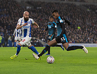 West Bromwich Albion's Rayhaan Tulloch (right) under pressure from Brighton & Hove Albion's skipper Bruno <br /> <br /> Photographer David Horton/CameraSport<br /> <br /> Emirates FA Cup Fourth Round - Brighton and Hove Albion v West Bromwich Albion - Saturday 26th January 2019 - The Amex Stadium - Brighton<br />  <br /> World Copyright © 2019 CameraSport. All rights reserved. 43 Linden Ave. Countesthorpe. Leicester. England. LE8 5PG - Tel: +44 (0) 116 277 4147 - admin@camerasport.com - www.camerasport.com