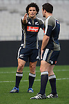 Doug Howlett (L) and Aaron Mauger. All Blacks training. 19 July 2007