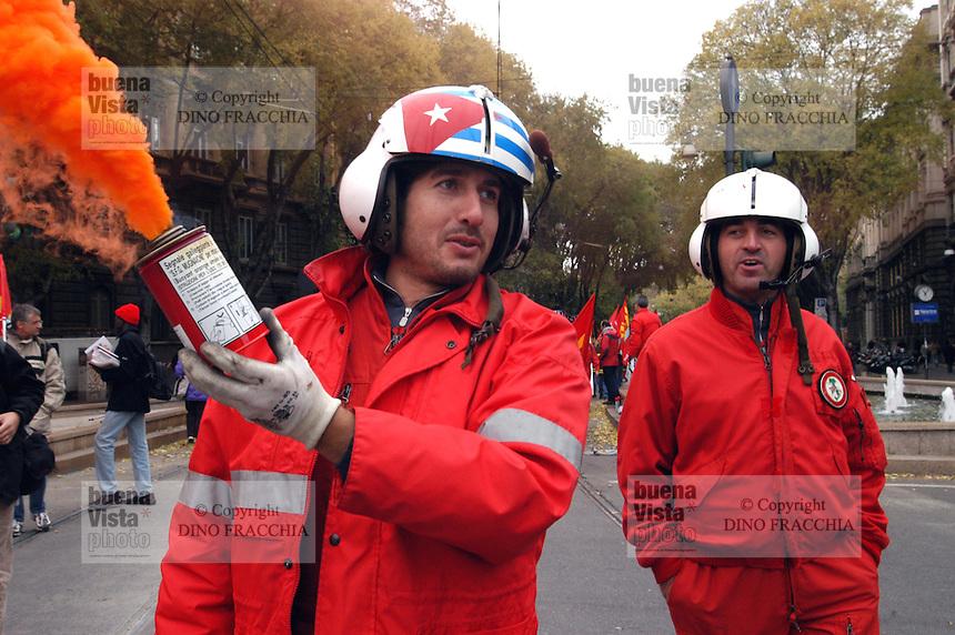 -  demonstration of COBAS, base labor unions, protest of ..firefighters, helicopter pilots....- manifestazione dei COBAS, sindacati di base, protesta dei Vigili del Fuoco, piloti elicotteristi