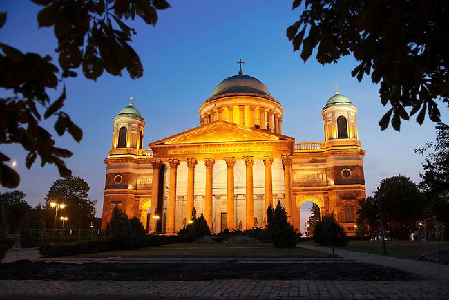 Exterior of the Neo Classical Esztergom Basilica at night , Cathedral ( Esztergomi Bazilika ), Hungary.