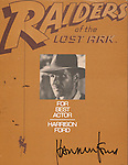 Harrison Ford <br /> ( Autograph and Memorabilia )<br /> RAIDERS OF THE LOST ARK <br /> For Your Consideration Ad for A Best Actor Nomination 1981